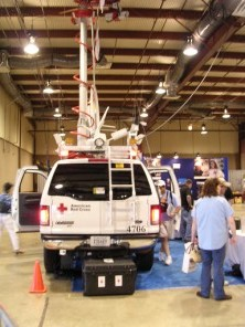 Red Cross truck with huge antenna farm
