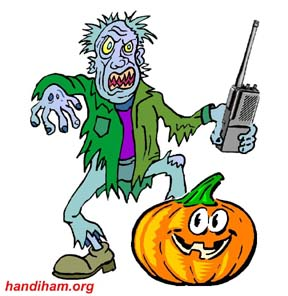 Cartoon ghoul with pumpkin and HT